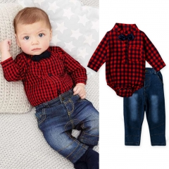 0-24M Infant Baby Boys Red Plaid Romper+Denim Pants Formal Clothing Sets Outfits CR003A red 90