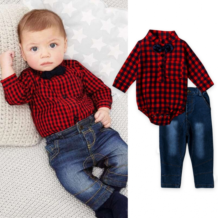 0-24M Infant Baby Boys Red Plaid Romper+Denim Pants Formal Clothing Sets Outfits CR003A red 95