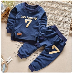 Kids Boys Clothing Set Baby Outfit Top+Pants Sport Toddler Tracksuit CR001C blue 120