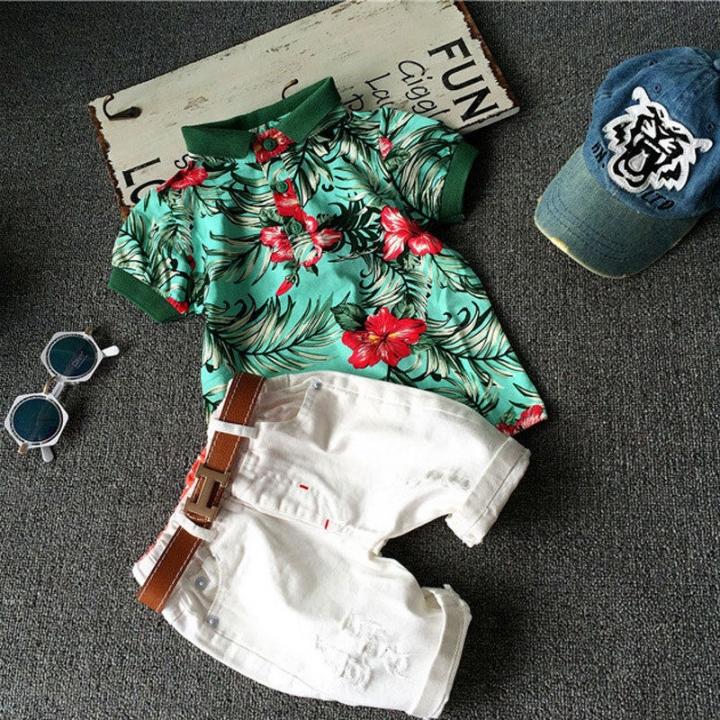 Kids Boys Clothing Set Toddler Outfit T-Shirt+Shorts Summer Clothing Set GX267A green 100