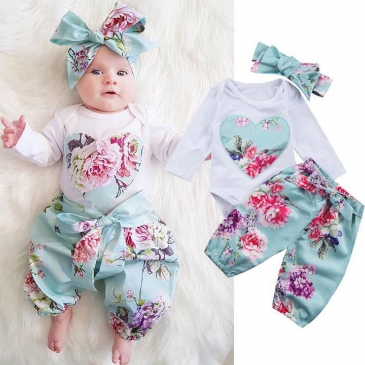 Newborn Baby Girls Heart Flower Long sleeve Rompers+pants+Scarf Set Outfits Clothes 3PCS CR025A green 70