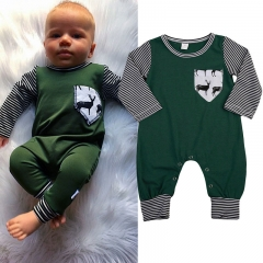 Boys' Striped Reindeer Blouse, Polyester/Cotton All Seasons Long Sleeves Stripes Integrated Style ZM088A army green 90