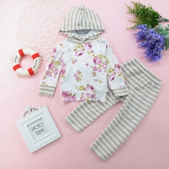 Girls' Daily Striped Floral Clothing Set, Cotton All Seasons Long Sleeves Casual White HY050A white 80