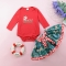 Girls' Daily Holiday Solid Polka Dot Animal Print Clothing Set, Cotton Long Sleeves Cute Red GX565A red 100