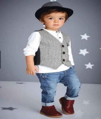 Little Gentleman Vest+White T-Shirt+Jeans Clothing Sets Boys Party Suit HH017A white 80