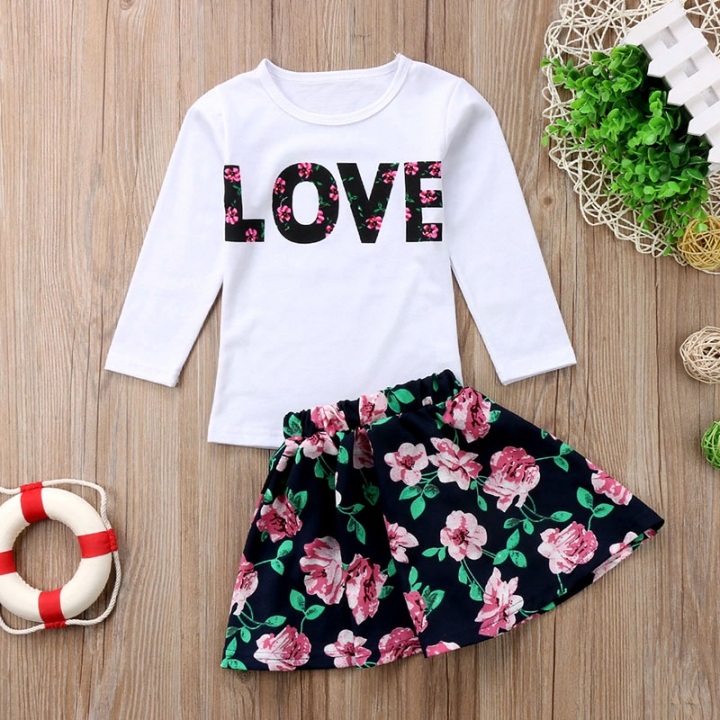 Girl's Floral Dress Long Sleeve Love Tops +Flower Skirt Outfits Sets GH197A white 130
