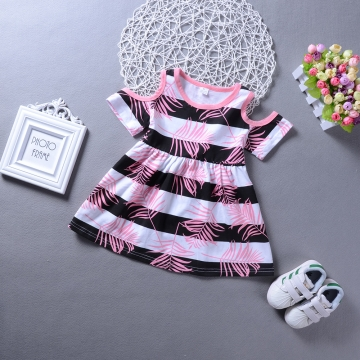 Girls Daily Holiday Striped Print Color Block Dress Cotton Short Sleeves Simple Cute Blushing Pink