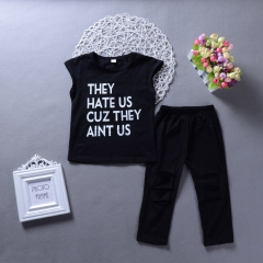 Girls' Daily Holiday Solid Print Clothing Set, Cotton Sleeveless Punk & Gothic Street chic Black GH232A black 100