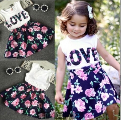 Girls' Floral Patchwork Clothing Set, Cotton Polyester Spring Sleeveless Cute Chinoiserie Black GH025A black 110