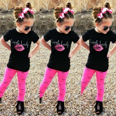Toddler Girls' Solid Colored / Print Short Sleeve Clothing Set GH094A black 110