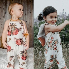Baby Girls' Holiday Floral Overall & Jumpsuit, Polyester Spring Summer Street chic Boho Sleeveless GG246A white 80