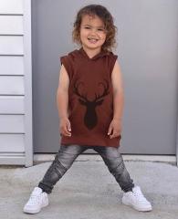 Baby Boys' Grils' Toddler Kids Hoodies Tops Sleeveless Hooded Sweatshirt Age 0-5Y GD172B wine 80