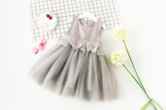 Girl's Going out Holiday Solid Floral Dress, Cotton Rayon Spring Summer Sleeveless Cute Active Gray HY059A light gray 90
