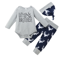 BABY Boys Girls Clothing Set 3pcs Romper Set+Pants+hat Toddler Outfit GC190A gray 80
