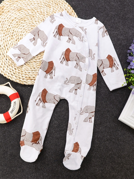 790fc4cc8fa4 Baby Girl Boys Romper Set Toddler Overall Elephant Newborn Jumpsuit Kids  Suit GC202A white 70