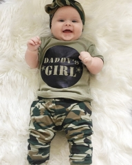 Cool Newborn Baby Boys' Girls' Camouflage T-Shirt+Pants Clothing Sets Outwear Outfits GG269A GIRL army green 100