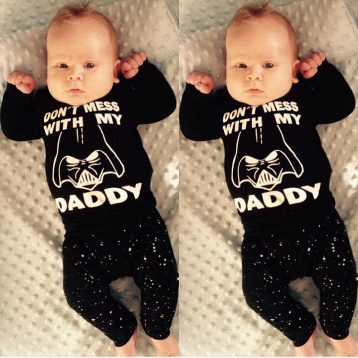 Newborn Baby Boy Girl Clothes Long Sleeve Cotton T-shirt+Long Pants Outfit Set GH128A black 90