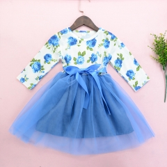 Baby Girl Princess Dress Floral Wedding Party Birthday Dresses Girl Clothing HY052A blue 120