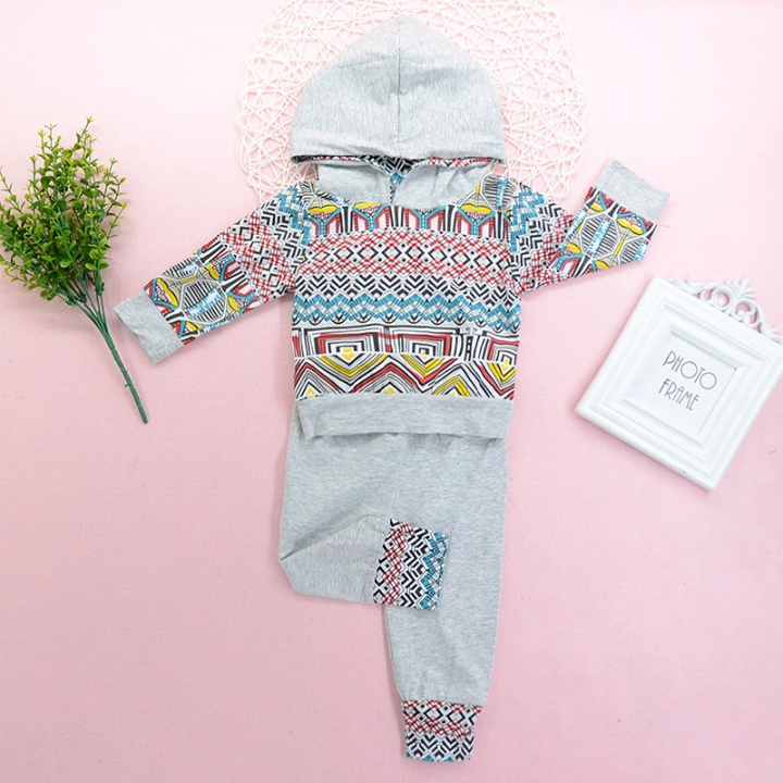 Baby Boys Girl Clothing Set Toddler Grey Outfit Kids Hoodie Tracksuit ZM131A light gray 70