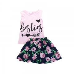 Girls' Floral Patchwork Clothing Set, Cotton Polyester Spring Summer Sleeveless Cute Chinoiserie GH204A pink 100