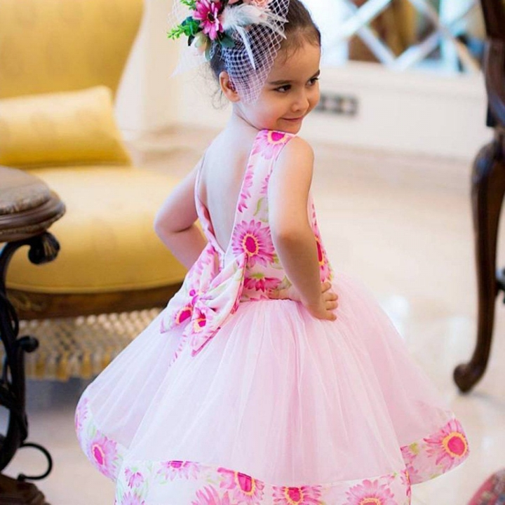 Princess Baby Kid Girls Floral Bow Back Wedding Party Birthday Tutu Dress CR021A pink 110