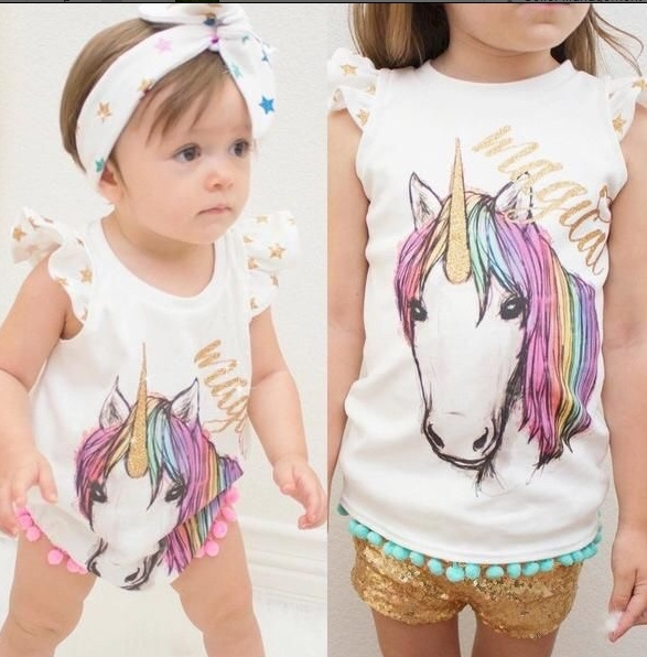 Cute Newborn Baby Girls Magical Unicorn Sister T-Shirt Romper Clothes Outfits ZM078AB white baby70