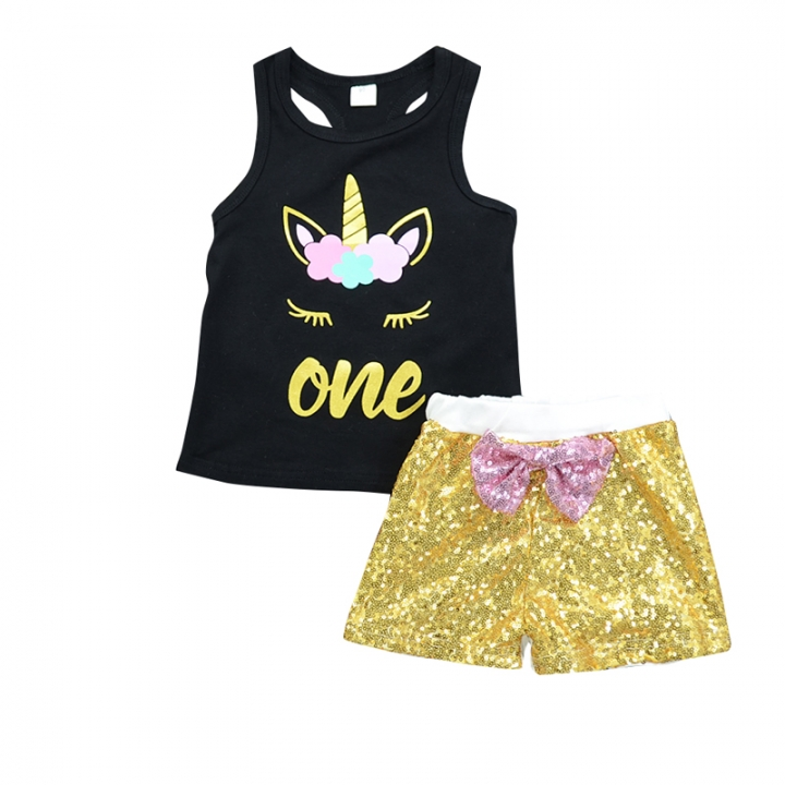 Child Kids Baby Girl Clothing Set Summer Toddler Outfit GH208A golden yellow 100