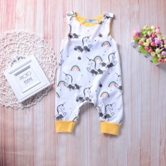 Newborn Baby Jumpsuit Toddler Outfit White Cotton Romper Overall GL303A white 70