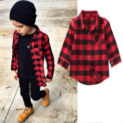 Unisex Daily Holiday Print Plaid Blouse, Nylon Spring Fall Long Sleeves Simple Casual Red red GD061A 80