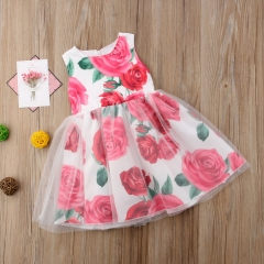Toddler Girls' Floral / Patchwork Sleeveless Dress red DH033A 90