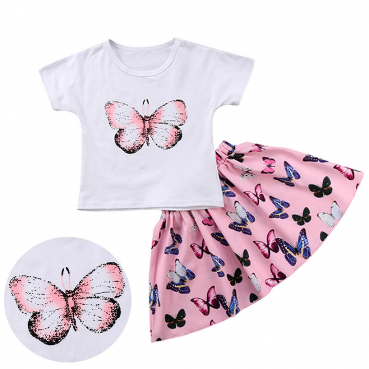 Toddler Girls' Butterfly Solid Colored / Print Short Sleeve Clothing Set pink GGG201A 100