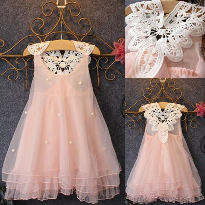 BABY girl Dress Sleeveless Dresses Pink Sundress Kids Clothes Girls Clthing pink 5