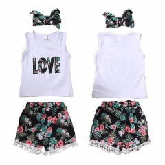 Baby Girl Clothing Set Newborn Kid Toddler Outfit Vest Shirt+Floral Shorts Pants white GC151A 90