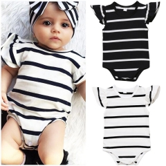Cute Newborn Baby Boys Girls Striped Romper Bodysuit Jumspuit Clothes Outfits white GG304B 70