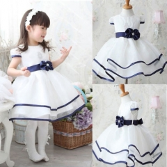 Baby Girls Kids Princess Christmas Party Bowknot White Formal Gown Tutu Dress white GZ028A 120