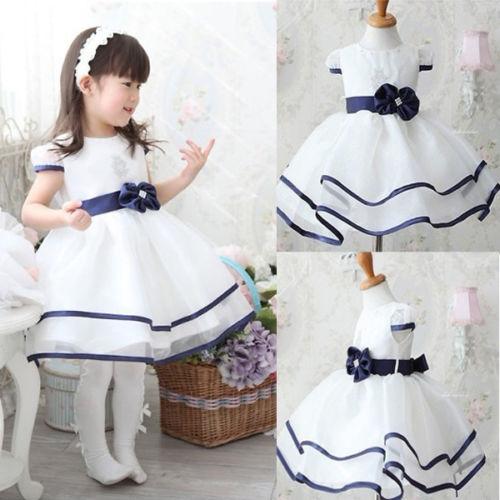 Baby Girls Kids Princess Christmas Party Bowknot White Formal Gown Tutu Dress white GZ028A 90