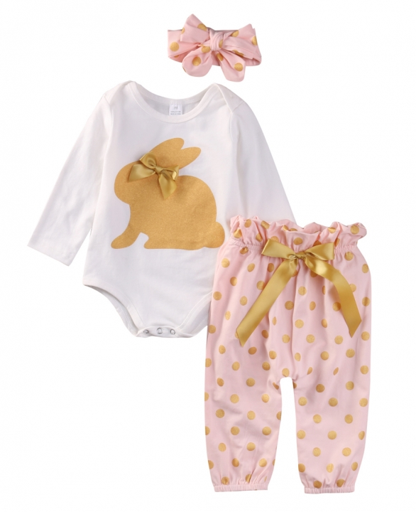 Newborn Baby Girl Princess Pink Cute Rabbit Romper+Polka Dot Pants Outwear Suit pink GC091A 100