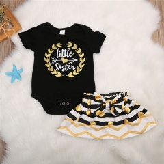 Children's clothing Fashion Newborn Kid Baby Girl Little sister Short sleeve T-shirt +Striped skirt black GC148B 80