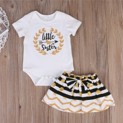 Children's clothing Fashion Newborn Kid Baby Girl Little sister Short sleeve T-shirt +Striped skirt white GC129A 90