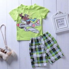Baby Boys Clothing Set Summer Cartoon Printed Shirt+Pants Kids Clothes light green GG032A 80