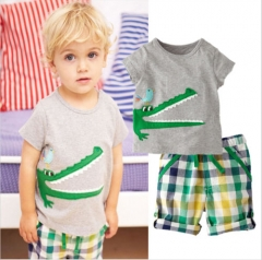 Toddler Kids Boys Crocodile T-shirt+Lattice Shorts Outfits Set 2PCS Children's clothing green GG035A 2