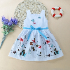 Fashion Kids Clothing Girl Dress Vest Princess Dresses white GG076A 130