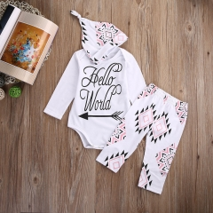 3pcs Newborn baby Boys Girls Beard Outfits Hat+romper+pants Clothing sets white GG154A 90