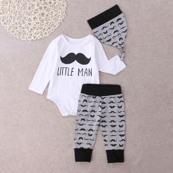 3pcs Newborn baby Boys Girls Beard Outfits Hat+romper+pants Clothing sets white GG161A 100