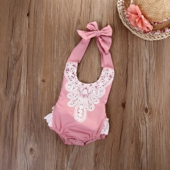 Children's clothing Newborn Toddler Baby Girls Floral Lace Bodysuit Romper 0-24M GG170B pink 24m