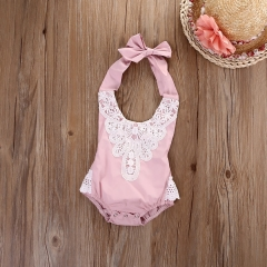 Children's clothing Newborn Toddler Baby Girls Floral Lace Bodysuit Romper 0-24M GG170D light pink 12m