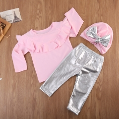 Infant Baby Girl Long Sleeve Tops Sweatshirt Leggings Pants Outfits Clothes GGG123A pink 90