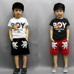 2PCS Kids Boys Tracksuit Outfits T-shirt+Palm Shorts Sport Clothes Set GH015B white 110