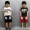 2PCS Kids Boys Tracksuit Outfits T-shirt+Palm Shorts Sport Clothes Set GH015B white 130