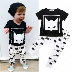 baby boys girls clothing set clothes short sleeve shirt+pants toddler outfit GH022A black 80